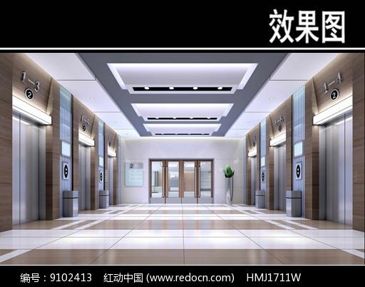 骨科医院侯梯厅效果图图片