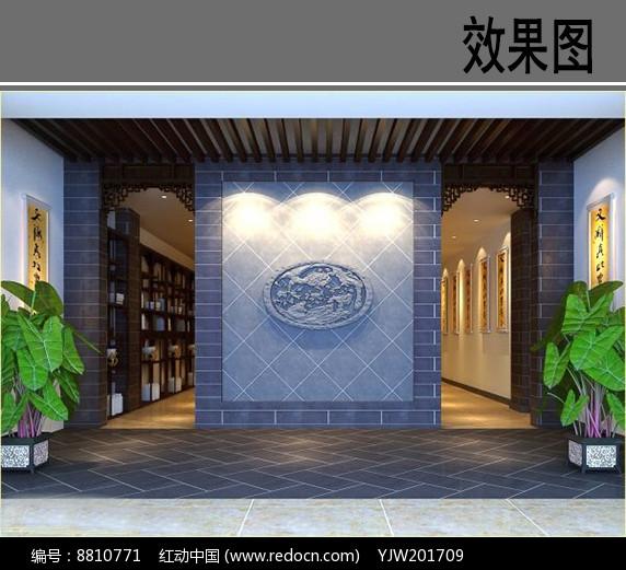 某茶社室内景墙效果图图片