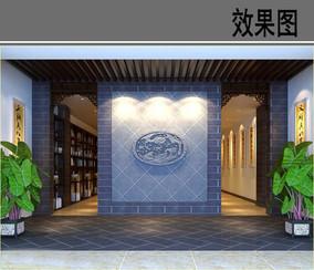 某茶社室内景墙效果图