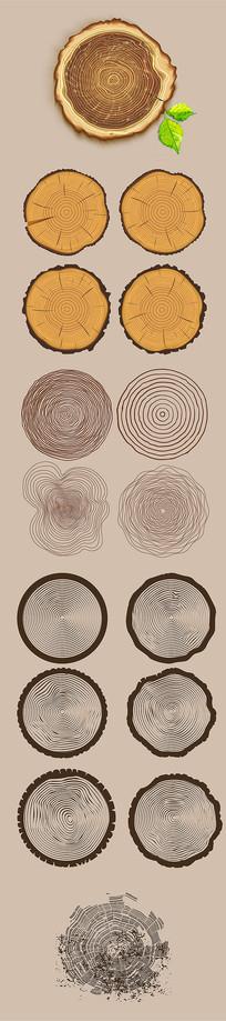 木纹年轮木头元素素材