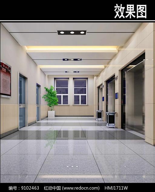 沈阳某医院电梯厅效果图图片