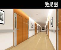 现代风医院走廊效果图