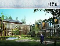 新中式酒店客房内庭院效果图 JPG