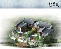 新中式酒店客房鸟瞰图 JPG
