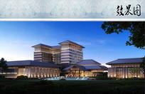 新中式酒店远景效果图 JPG