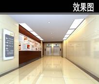 医院二楼电梯间效果图