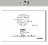 圆形雕塑喷泉水景图 CAD