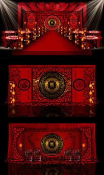 传统中国红主题婚礼PSD设计