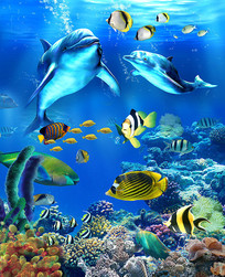 海洋世界玄关背景 PSD
