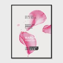 花瓣妇女节海报