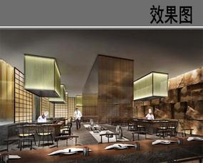 某时尚酒店日本餐厅效果图