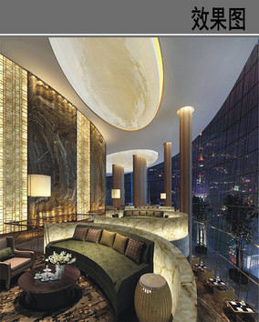 上海某酒店大堂吧效果图