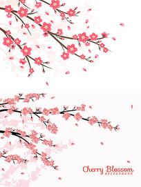 樱花背影素材