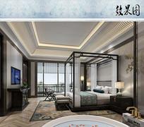 中式酒店客房效果图