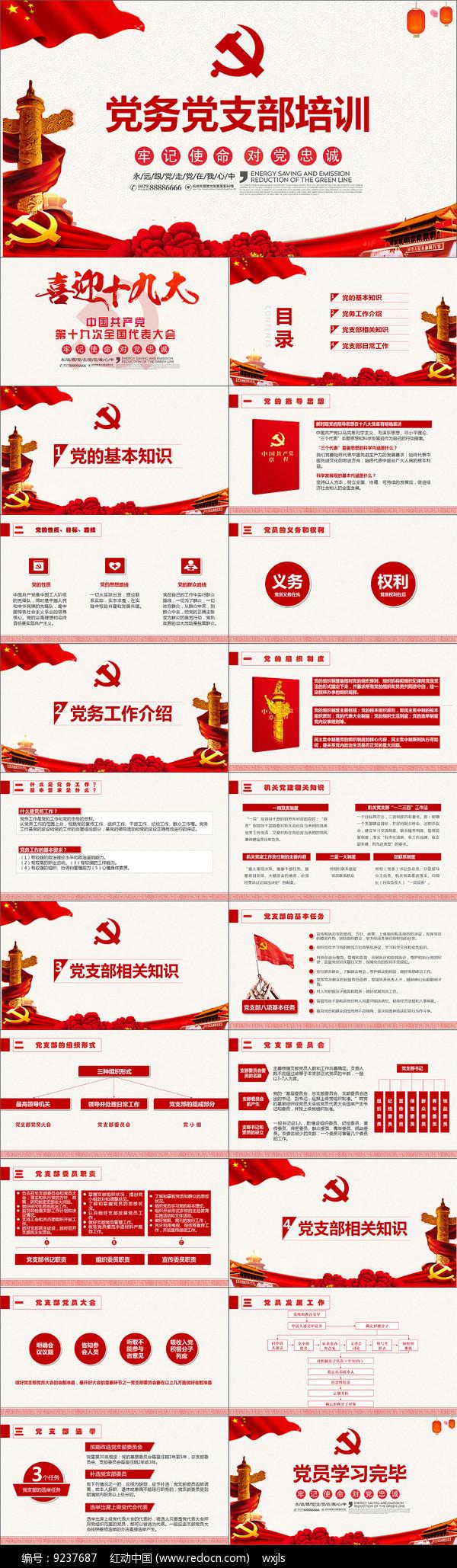 党务党员党课培训PPT模板图片