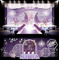 浪漫紫几何主题婚礼AI设计 AI