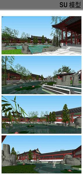 碑园古典园林景观模型