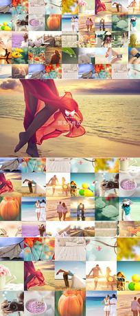 多图片汇聚排列成照片墙模板