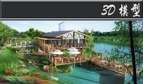 复古木制亭子场景3D模型