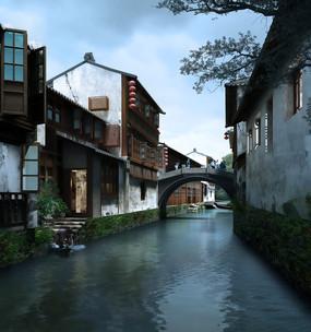 古典小镇河水景观