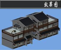 黑色屋檐古建别墅效果图