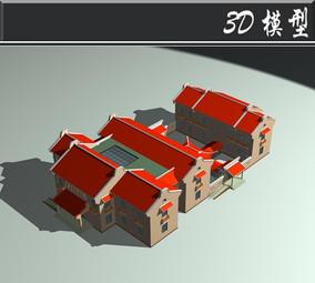 红色屋檐仿古建筑3D模型