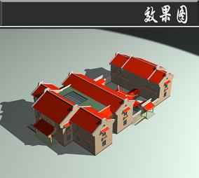 红色屋檐仿古建筑效果图