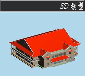 红色屋檐古建3D模型