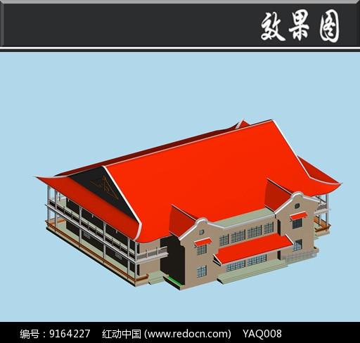 红色屋檐古建效果图图片
