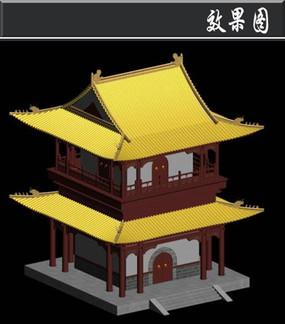 黄色屋檐双层塔效果图