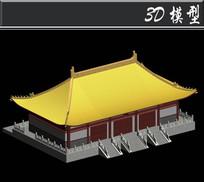黄色屋檐四角飞檐3D模型