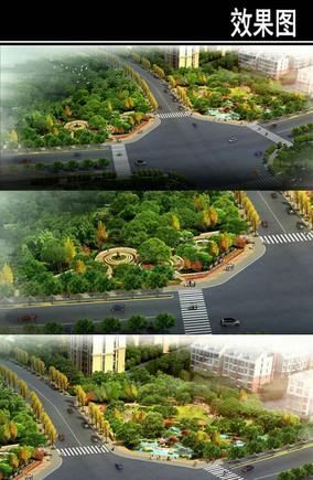 环线道路节点公园效果图