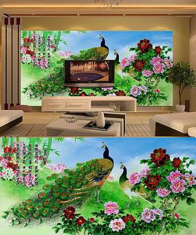 孔雀电视沙发背景墙