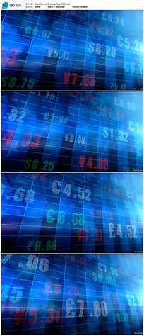 蓝色全球货币汇率背景视频