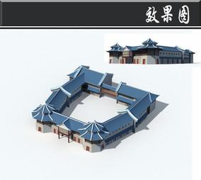 蓝色屋顶中式建筑效果图