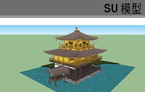 临水日式建筑模型