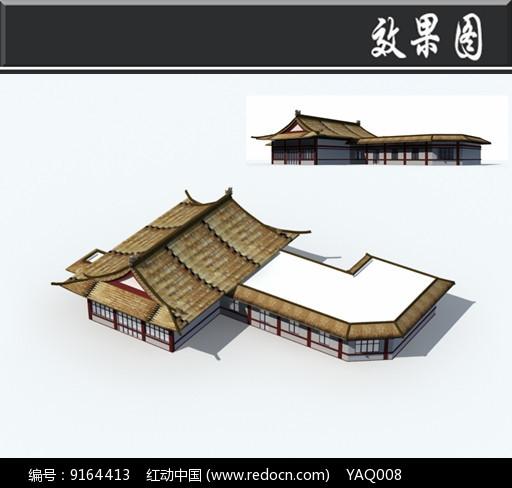 茅草屋顶中式建筑效果图图片