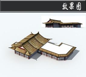 茅草屋顶中式建筑效果图