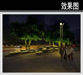 某北滨大道广场三峡石夜景效果