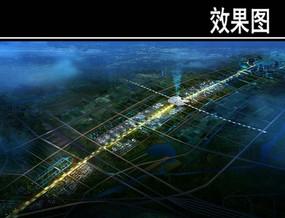 某城市大道设计夜景鸟瞰图