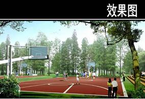 某公园湿地林间篮球场效果图