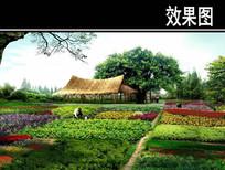 某公园湿地乡土植物园效果图
