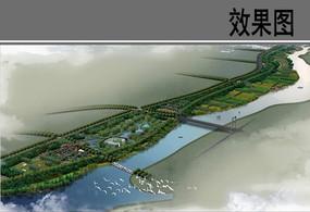 某河景观带景观工程鸟瞰图