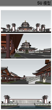 秦汉风格城北公园模型