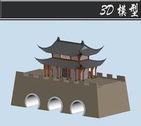 三桥洞古建3D模型