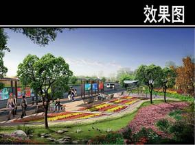 上海某道路景观节点一效果图