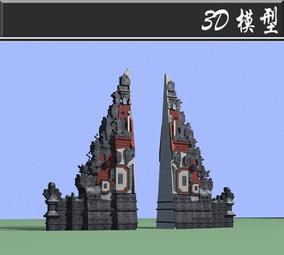 少数民族图章创意大门3D模型
