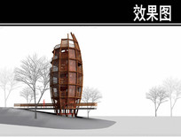 生态湿地公园景观塔效果图