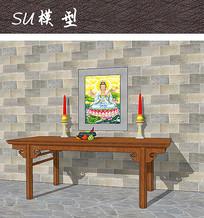 室内佛教装饰SU