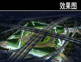 苏州某高速公路夜景鸟瞰图